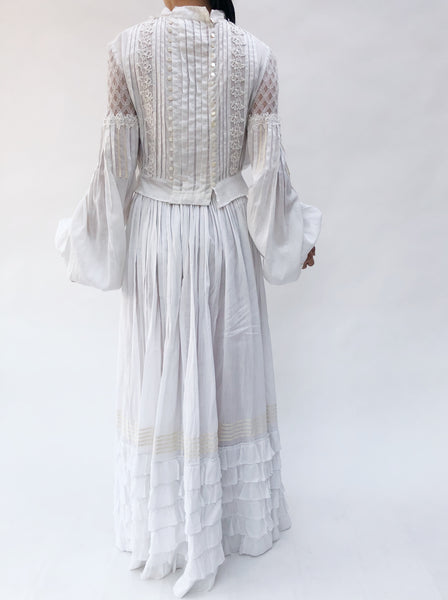 Antique Cotton Puff Sleeve Ensemble - XS/S