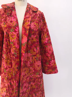 1950s Floral Hostess Coat - M