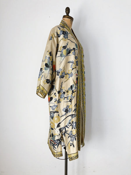 1920s Raw Silk Floral Dressing Robe - One Size