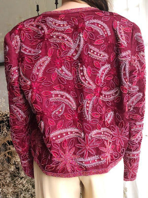 Rare 1980s Silk Embroidered Jacket - M/L