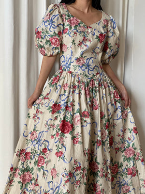 1980s Puff Sleeves Cotton Floral Print Gown - S