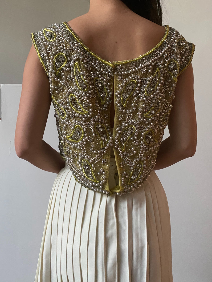 1960s Green Beaded Cropped Bodice - M
