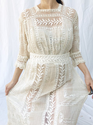 Antique Cotton Muslin Floral Print Dress - XS/S