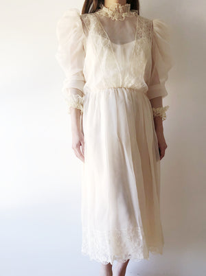 Vintage Chiffon Mutton Sleeves Dress - S