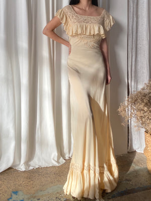1930s Beige Reversible Silk Chiffon Ruffle Dress - S