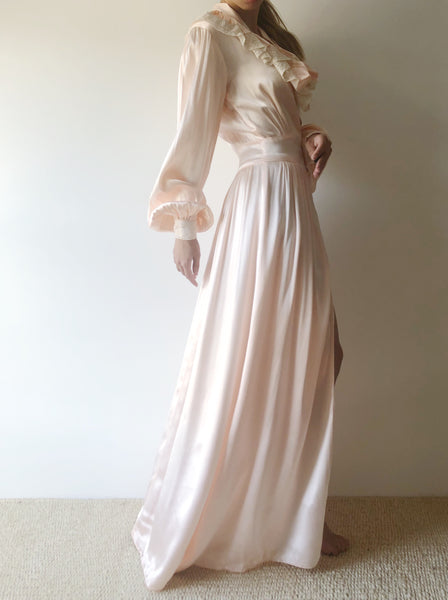 1940s Pink Candlelight Satin Dressing Robe - XS/S