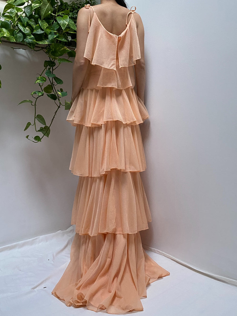 1960s Peach Tiered Gown - S/M