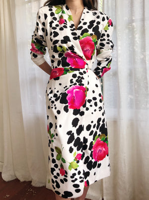 Vintage Silk Animal Print Rose Wrap Dress - S/M