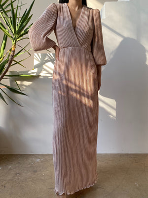 1970s Dusty Rose Pleated Gown - M/L