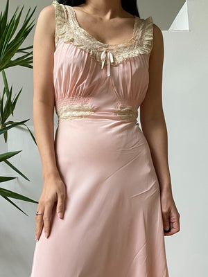 1930s Pink Silk Crepe Gown - S