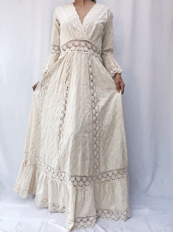 1970s Cotton Pintucked Gown - S/M