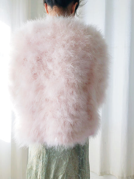 Vintage Light Pink Feather Jacket - S/M