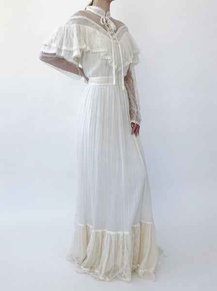 1970s Cotton Gauze Off-the-Shoulder Illusion Dress - S/M