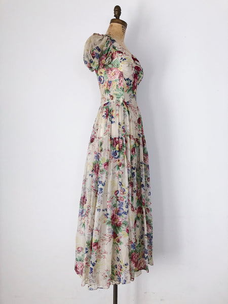 1930s/40s Chiffon Floral Dress - XS/S
