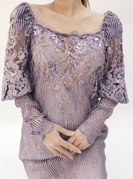 Vintage Purple Lace Juliet Sleeves Gown - M