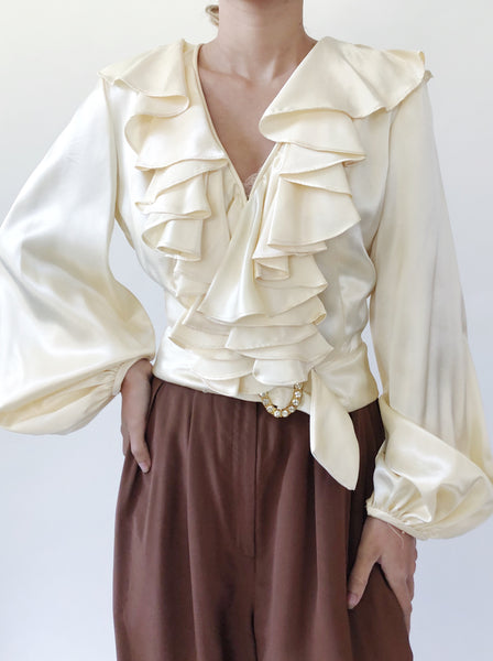 Vintage Ruffled Collar Ivory Blouse - S/M