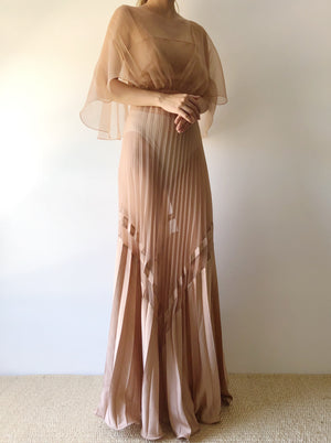 Vintage Sheer Taupe/Dusty Rose Chiffon Gown - S/M