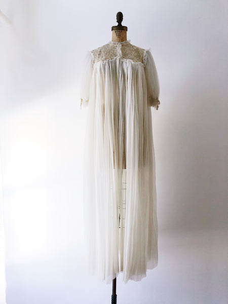 1960s Sheer Accordion Pleated Dressing Gown - One Size