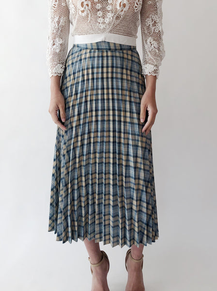 1950s Blue Plaid Wool Pleated Skirt - S