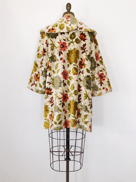 1950s Textured Flower Swing Coat - M