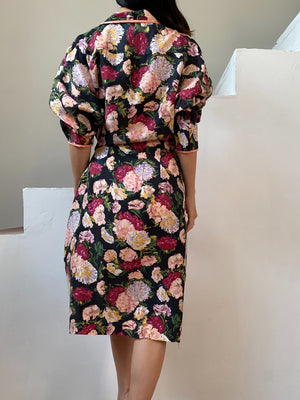 Vintage Silk Floral Print Wrap Dress/Duster - M