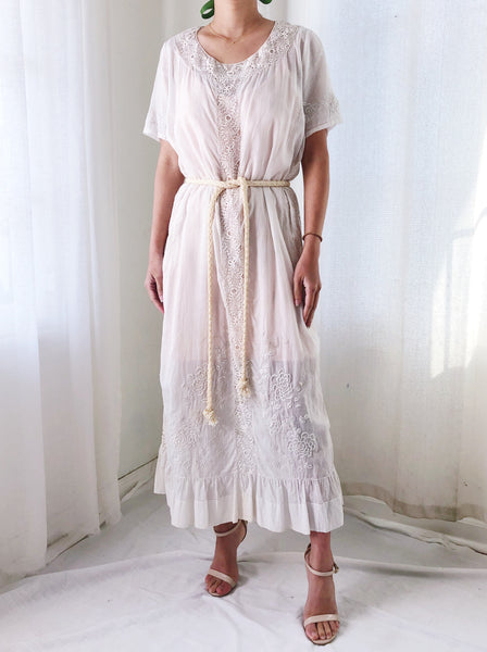 1920s Embroidered Cotton Flapper Dress - M