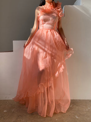 Vintage One Shoulder Sheer Voile Ruffle Gown - XS