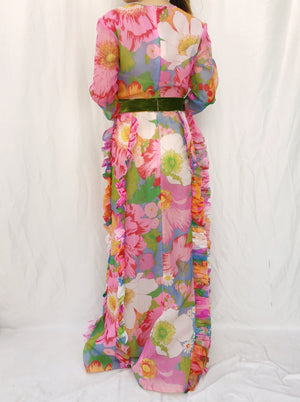 1970s Crew Neck Chiffon Floral Dress - M