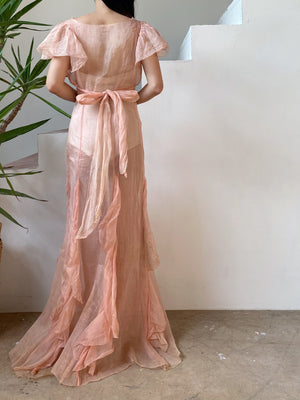 1930s Dusty Pink Flutter Sleeve Silk Organdy Sheer Gown - XS