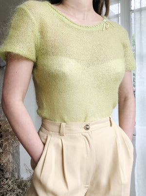 Vintage 90s Chartreuse Fuzzy Top - S/M