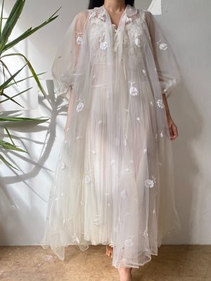 1950s Double Layered Tulle Dressing Robe - One Size