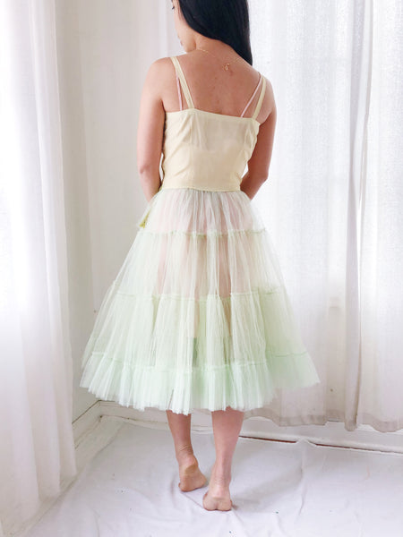 1950s Light Green Sheer Tulle Dress - XXS