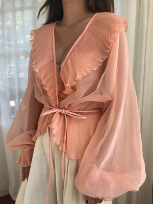 Vintage Peach Ruffled Collar  Blouse - M