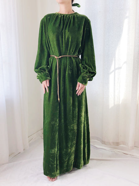RESERVED 1940s Green Velvet Dress - M