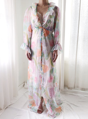 1960s Sheer Tricot Dressing Gown- S