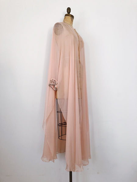 1960s Pink Silk Chiffon Long Duster - One Size