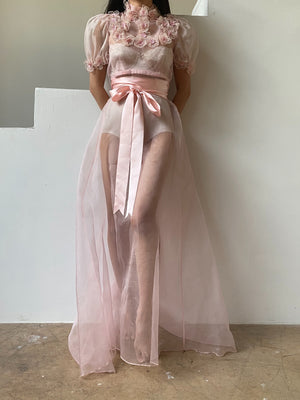 Vintage Pink Silk Organza Dress with Appliqués - XS/S