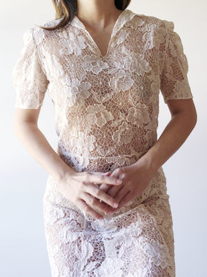 1940s Sheer Lace Dress - S/M
