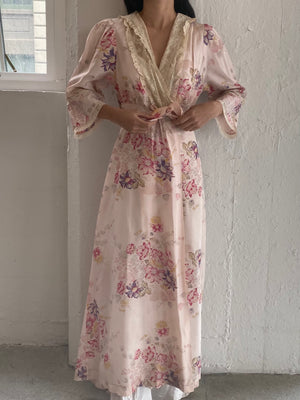 1930s Floral Rayon Dressing Gown - S