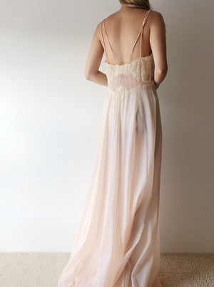 1950s Sheer Pink Nylon Slip Gown - S/M