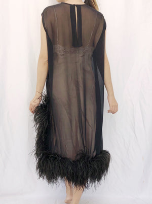 1960s Sheer Black Chiffon Feather Dress - M