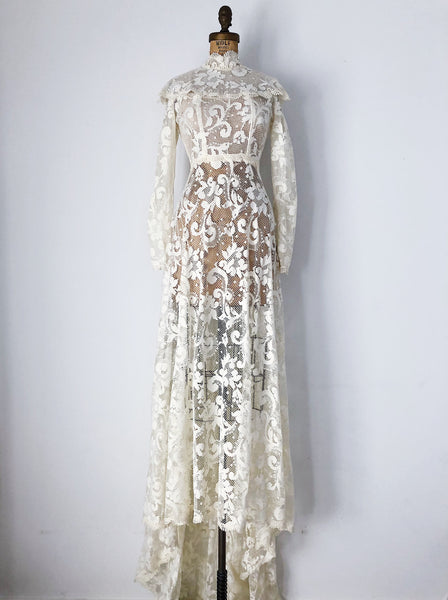 1970s Crochet High Neck Gown - XS