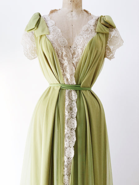 1950s Chartreuse Lucie Ann Nylon Dressing Gown - One Size