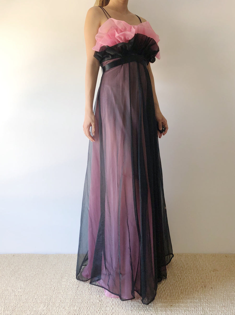 1960s Sheer Two Tone Pleated Bust Dress - XS/S