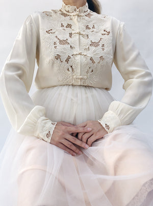 1950s Silk Embroidered Top - S/M