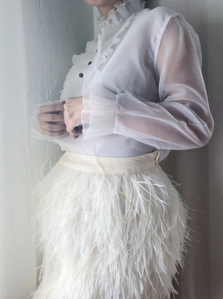 Vintage White Pleated Collar Blouse - S/M