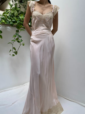 1930s Pink Rayon Bias Slip Gown - S/M