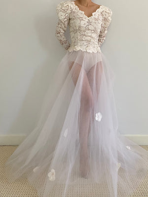 Vintage Alencon Lace and Tulle Gown - XS/S