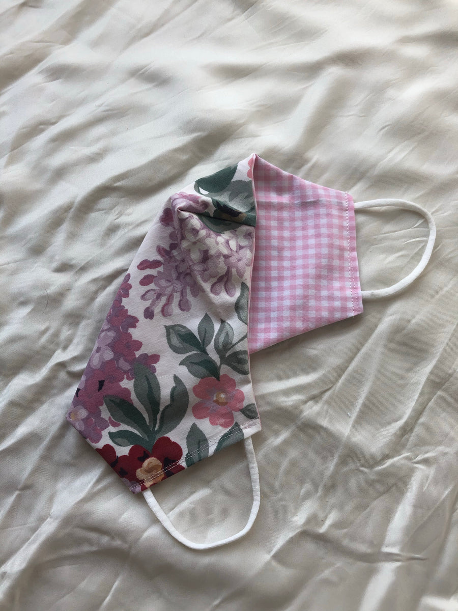 2-in-1 Reversible Pink/Lilac Florals Cotton Face Mask