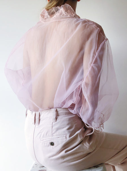 1950s Sheer Pink Embroidered Top - S/M